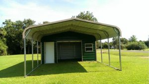 Partially Enclosed Metal Carport Garage